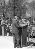 Monument (2) in Municipal Park. Speech of J. Masaryk at unveiling ceremony on 27 April 1947