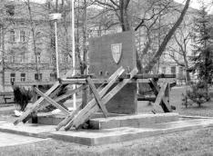 Monument (4) in Municipal Park. Erection of new monument. 1990
