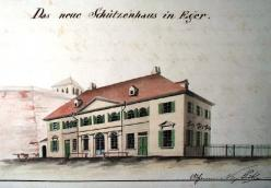 Shooting range. New building below the castle. V. Prökl around 1850