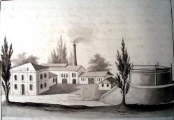 Gas house. Drawing by V. Prökl, 1865