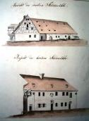 Town mills. Drawing by V. Prökl, 1850