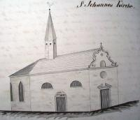 Church of Saint John. Drawing by V. Prökl, 1845