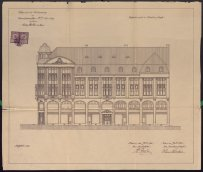 Draft of the east front of the Fashion House of Hans Stocker, Reinhold Weisse, 1912, ASÚ Cheb.