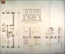 Löwy House. Reconstruction plan, floor plans and view from the square, Niklas Gschier, 1834