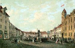 Fountain with the statue of Roland. Around 1850